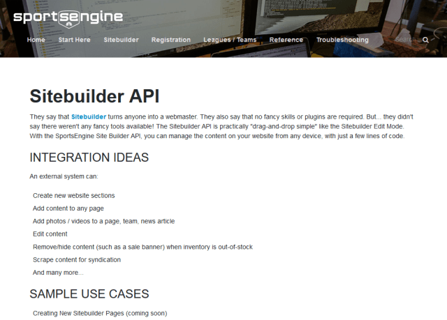 Sportsengine Sitebuilder API