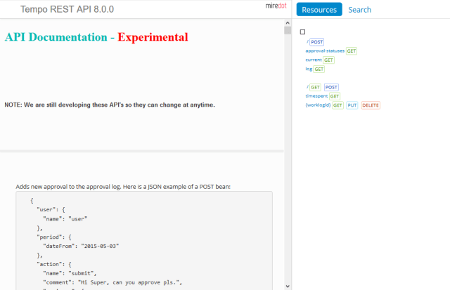 Tempo Timesheets API