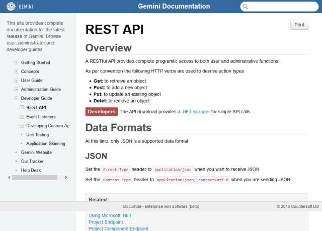 Gemini Countersoft API