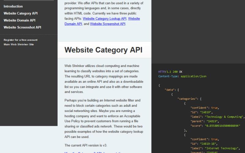 Web Shrinker Thumbnail API