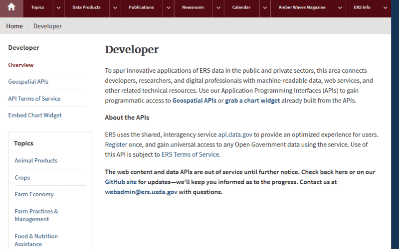 USDA Economic Research Service API