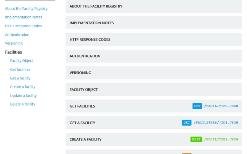 Facility Registry API