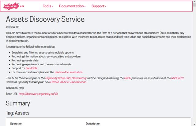 Organicity Assets Discovery API