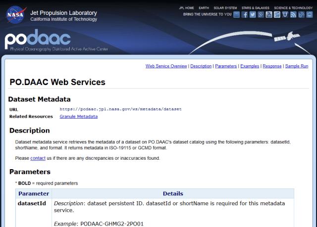 Nasa Podaac Dataset Metadata API
