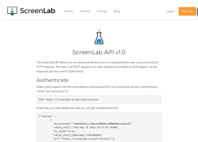 Screenlab API