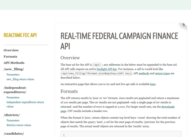 Sunlight Real Time Federal Campaign Finance API