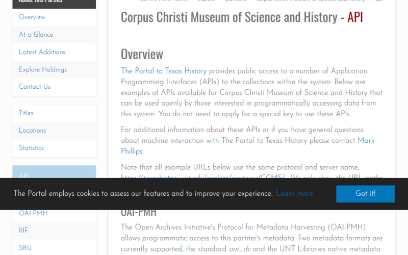 The Portal to Texas History API