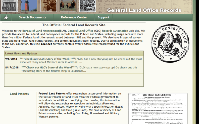 General Land Office Records API