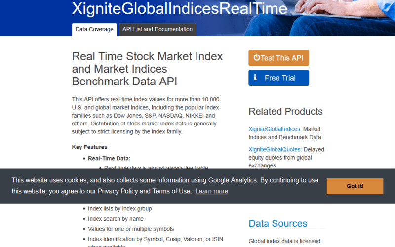 Xignite Global Indices Real Time API