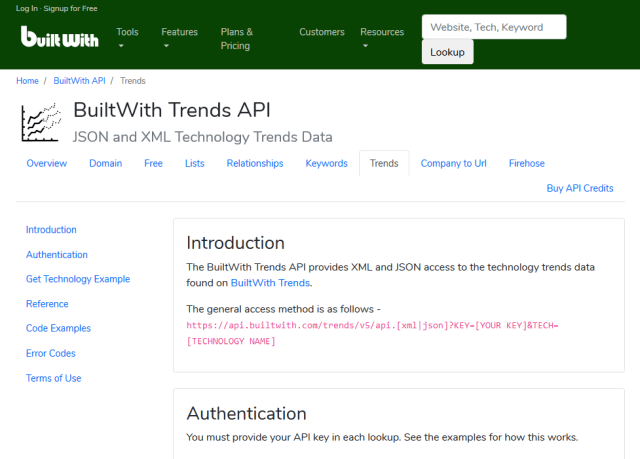 Builtwith Trends API
