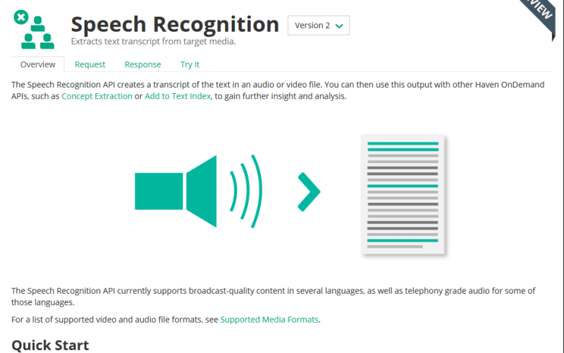 HPE Haven OnDemand Speech Recognition API