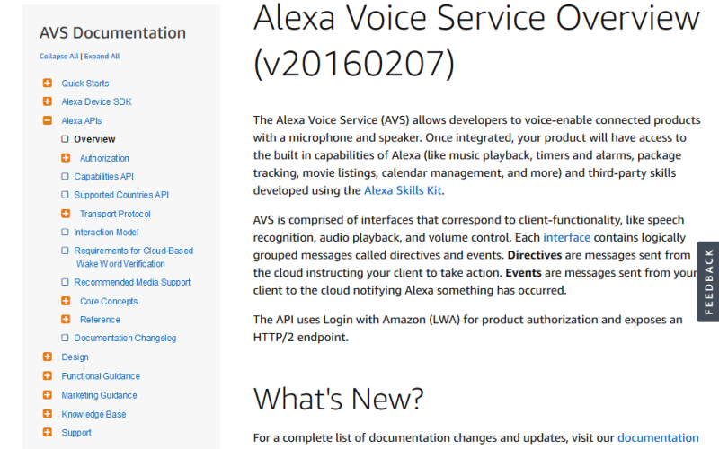 Amazon Alexa Skill Voice Service API