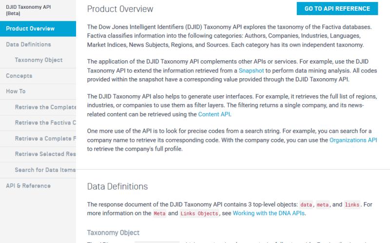 DJII Taxonomy API