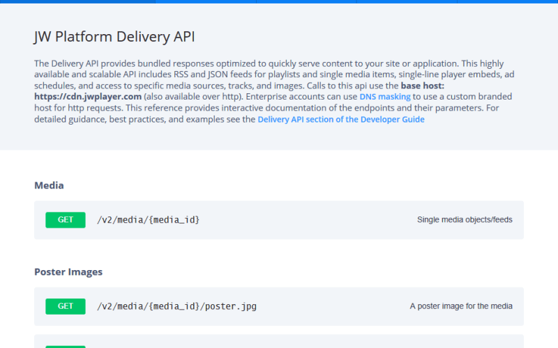 JW Player Delivery API