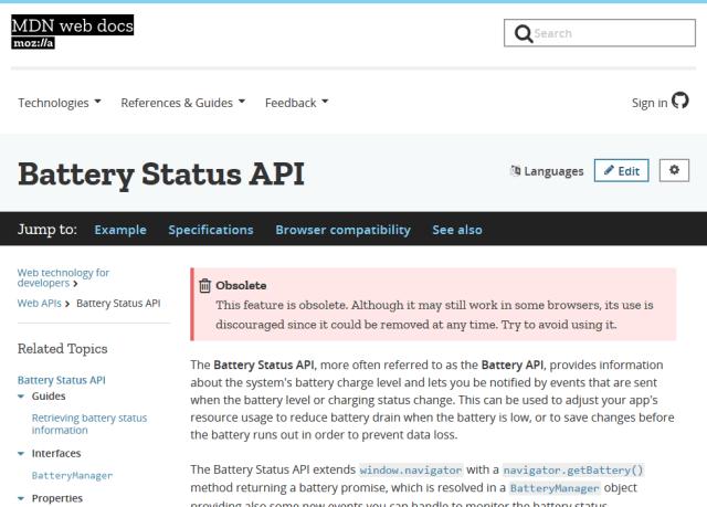 Mozilla Battery Status API