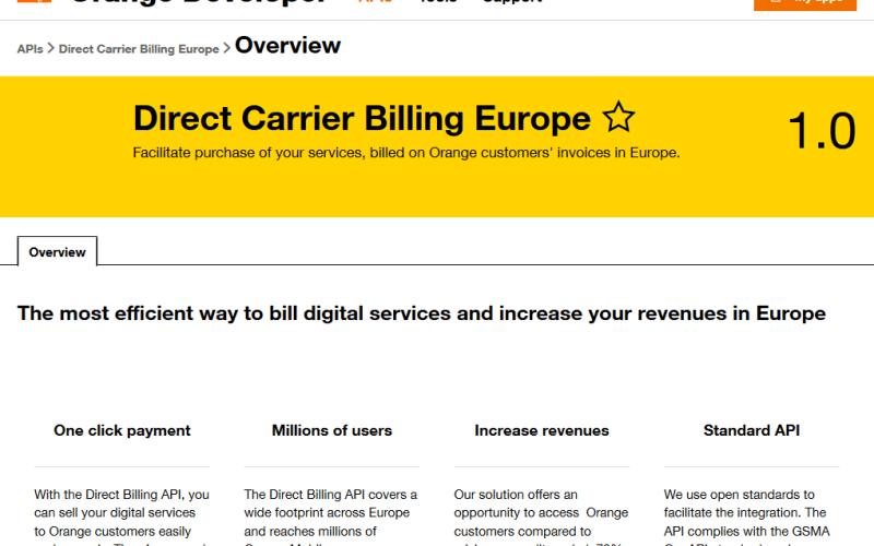 Orange Direct Carrier Billing Europe API