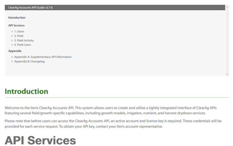 Iteris Clearag Account API