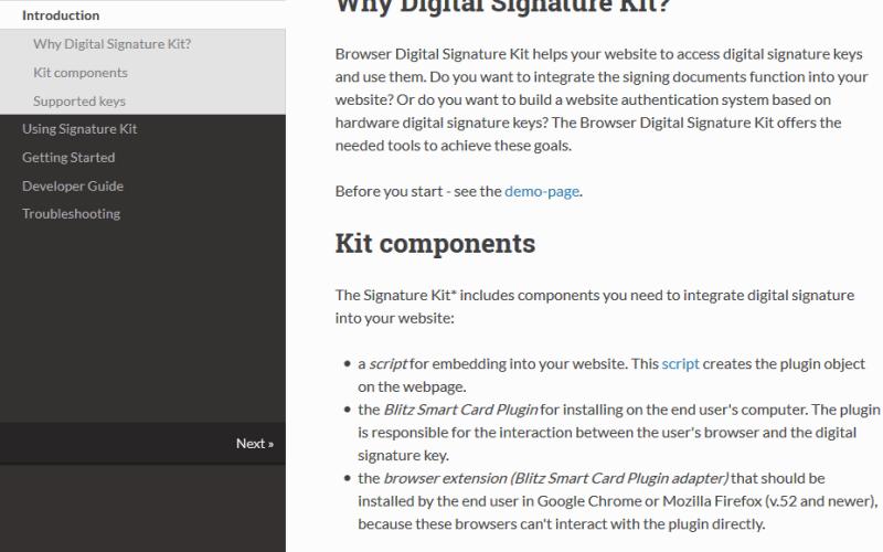 Browser Digital Signature Kit API