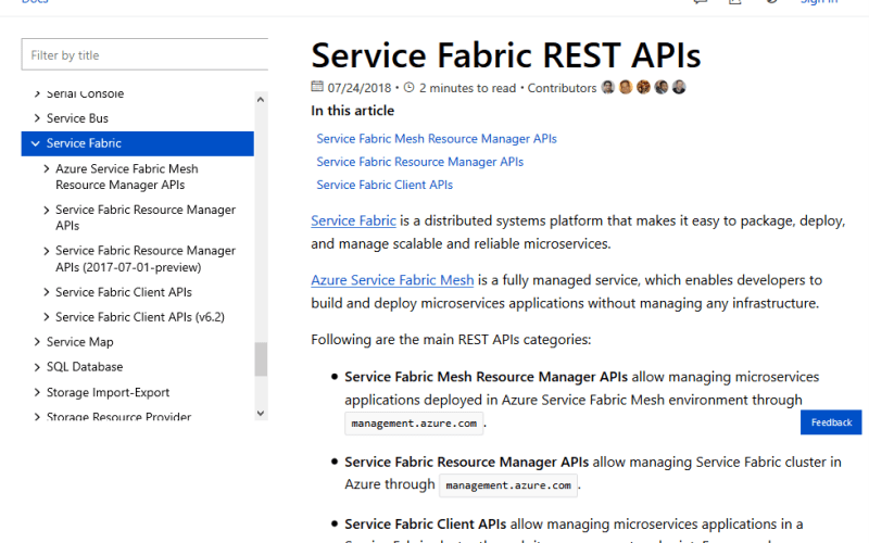 Microsoft Azure Service Fabric Resource Manager API