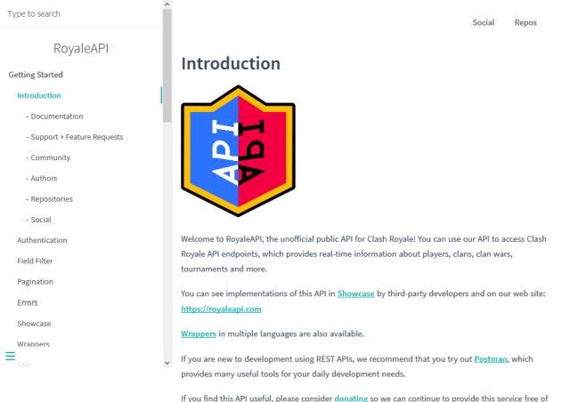 Unofficial Clash Royale API