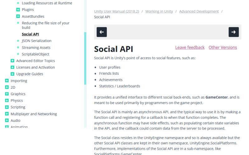 Unity Social API
