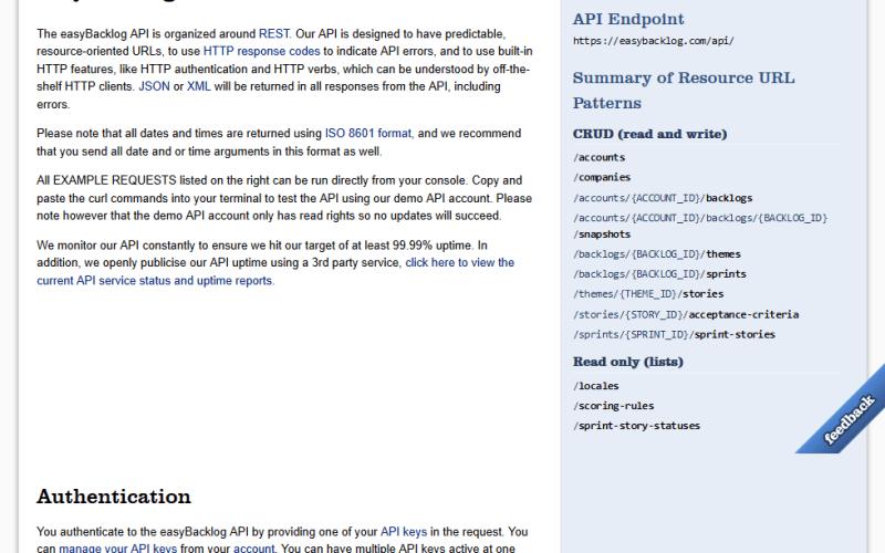 easyBacklog API