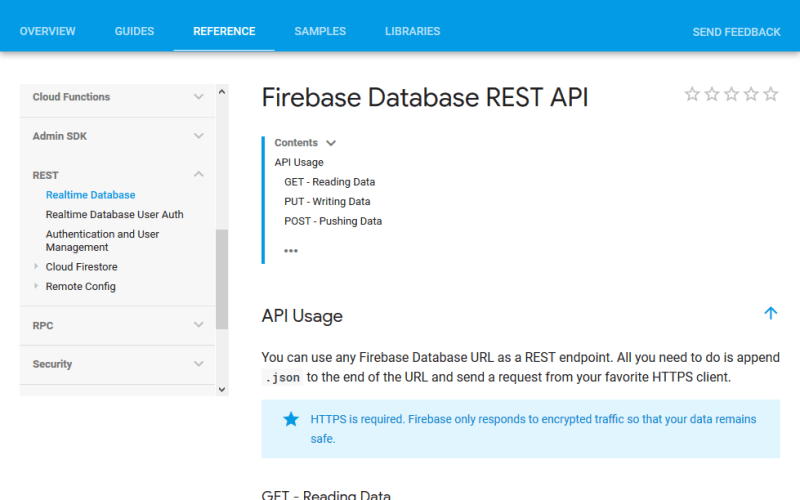 Google Firebase Database API