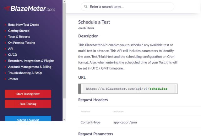 Blazemeter Tests Scheduler API