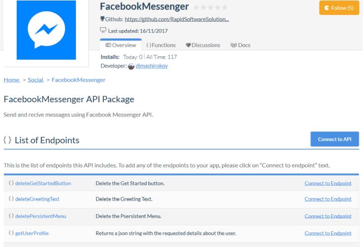 Facebook Messenger Platform Webhook API