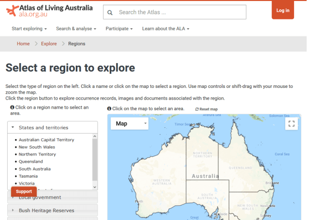 Atlas Living Australia Regions API