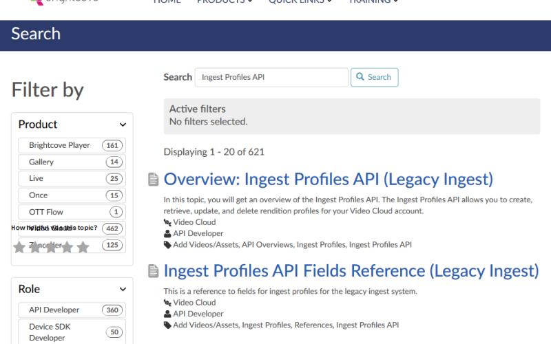 Brightcove Ingest Profiles API