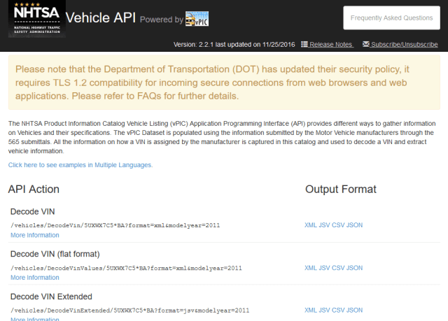 Nhtsa Product Information Catalog And Vehicle Listing Vpic API