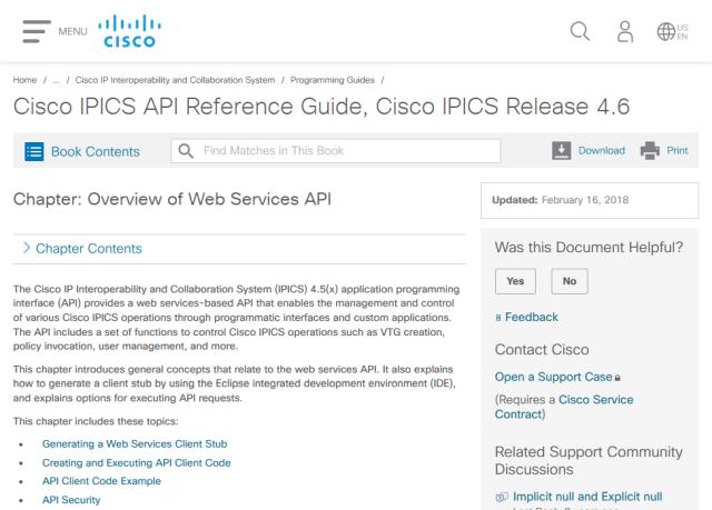 Cisco Ip Interoperability And Collaboration System Ipics Soap API