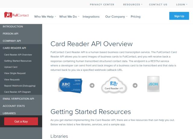 Fullcontact Card Reader API