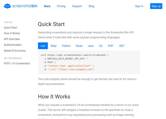 Screenshot Bin API