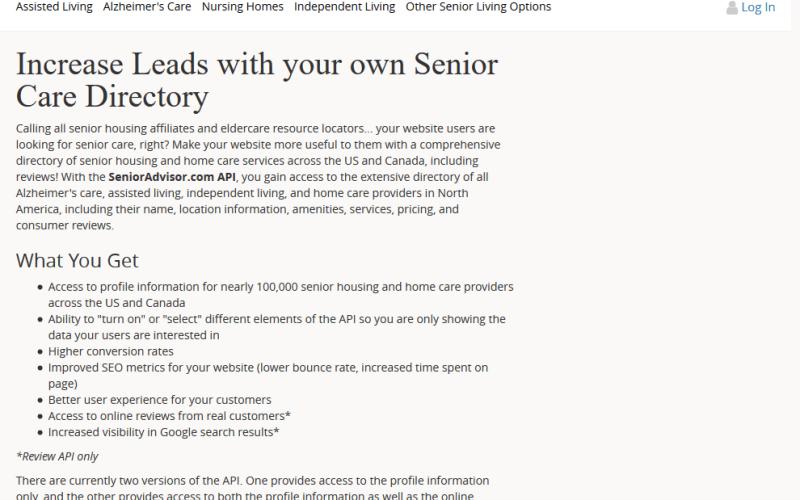 SeniorAdvisor API