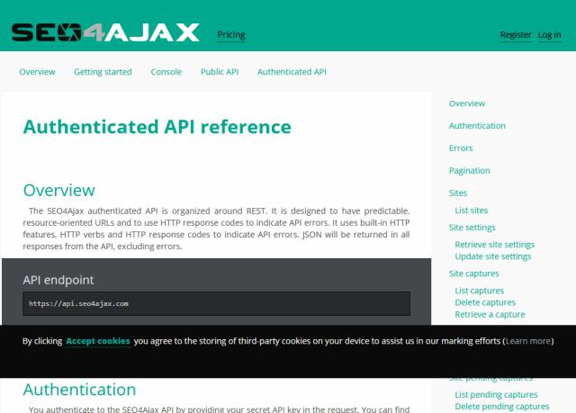 Seo4Ajax Authenticated API