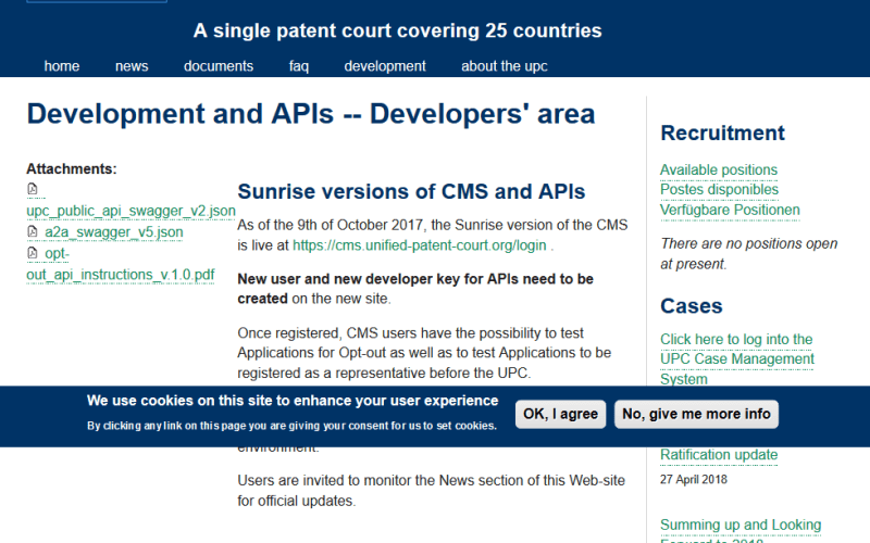 Unified Patent Court API