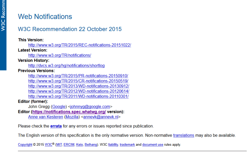 W3C Web Notifications API