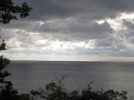 View of Lake Michigan from atop a tall bluff