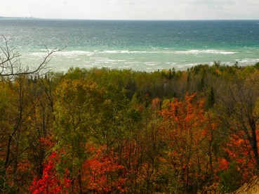 Looking out toward Charlevoix from a bluff high above Lake Michigan