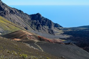 Just one colorful cinder cone within the summit depression