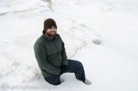 Tony in snow on Lake Superior