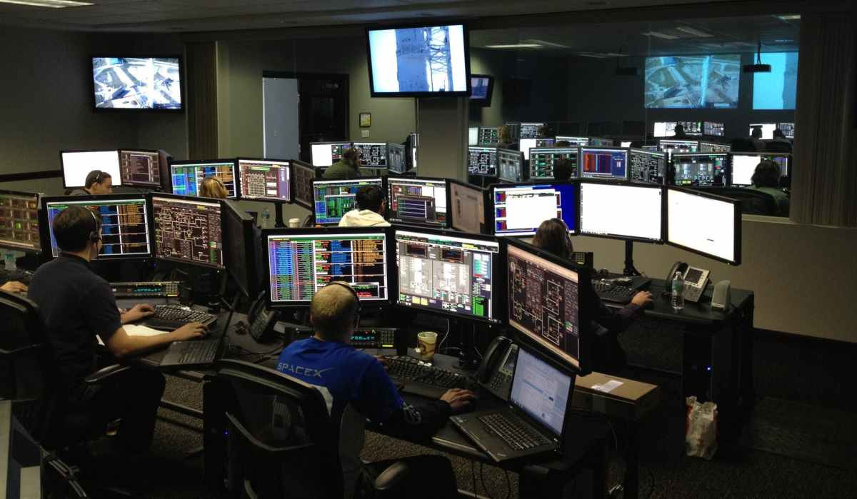 men working at night