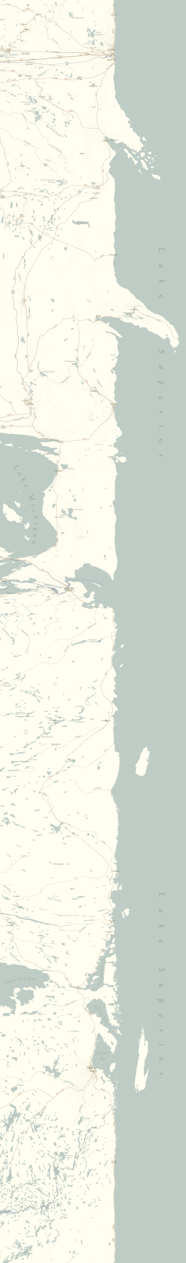 A linear map of Lake Superior