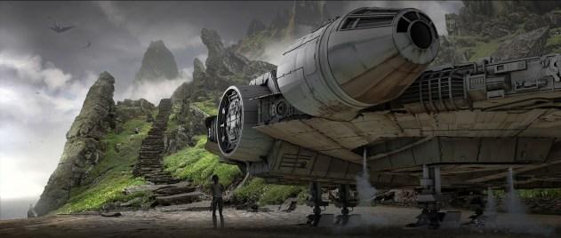 The Millennium Falcon on Luke's hideaway planet