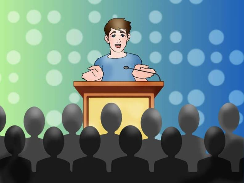 Public Speaking Certification - publick speaker adressing people