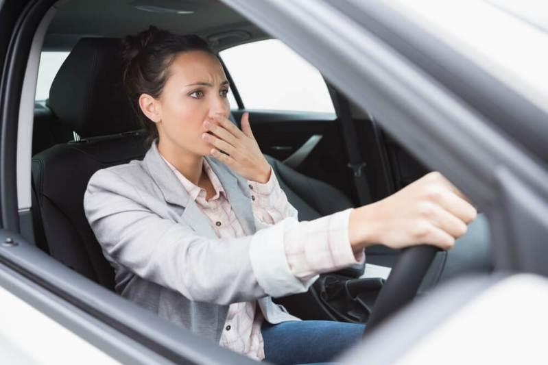 businesswoman crashing her car
