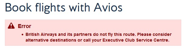 British Airways Seychelles Error