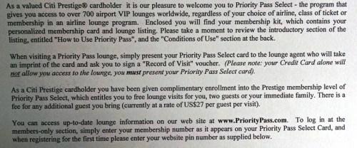 Citi Prestige Priority Pass